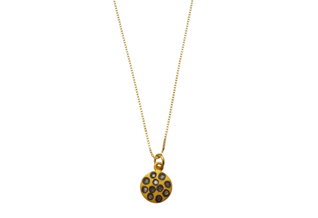 Diamond Moon Pendant in Yellow Gold