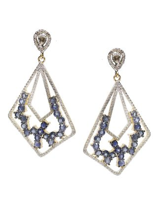 Sapphire and Diamond Geometric Earrings