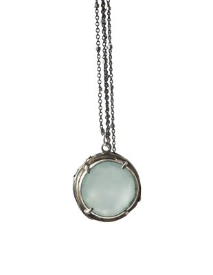 Sterling Silver Necklace with Semi-Precious Stone