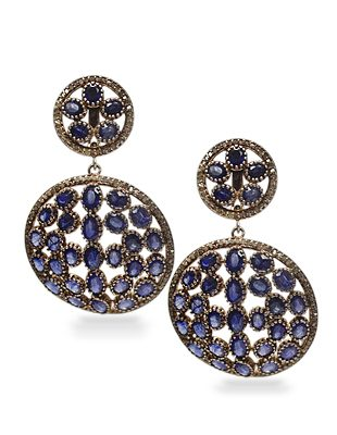 Sapphire and Diamond Deco Earrings