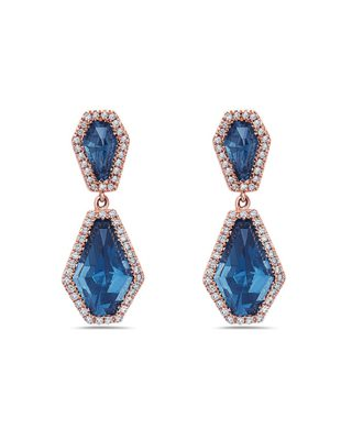 Geometric English Blue Topaz Earrings