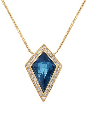 Geometric Blue Topaz and Diamond Necklace