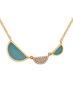 Geometric Diamond and Turquoise Necklace