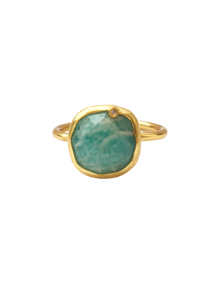 Amazonite and Diamond Ring