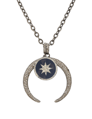 Pave Diamond Celestial Necklace and Diamond Star