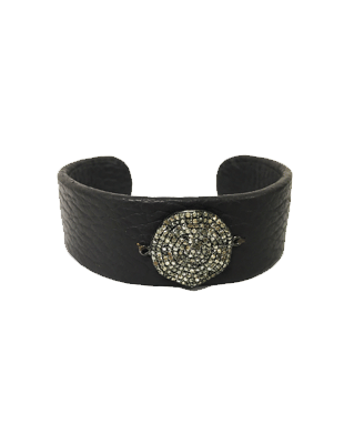 Leather and Diamond Cuff