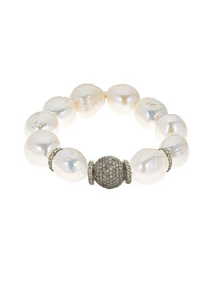 Freshwater pearl and pave diamond bracelet