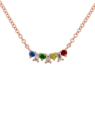 Rose Gold and Rainbow Necklace