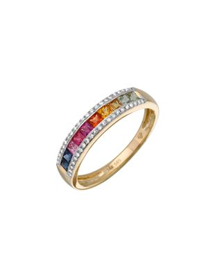 Gold Rainbow Ring with Diamonds