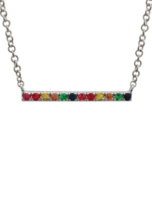 Rainbow layering bar necklace