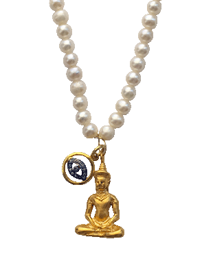 Buddha, Diamonds and Pearl Necklace