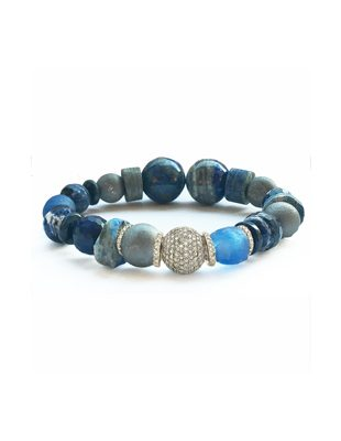 Lapis, gemstone and pave diamond bracelet $625/$375