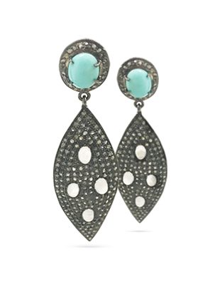 Diamond, moonstone and turquoise earrings