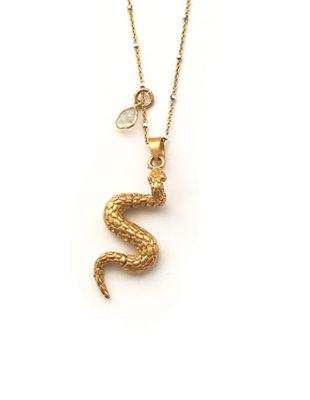 Gold Snake and Diamond Necklace