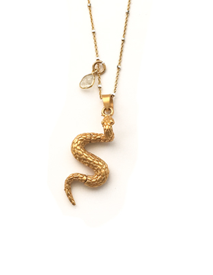 Gold Snake and Diamond Necklace