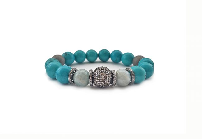 Turquoise, aquamarine and diamond bracelet