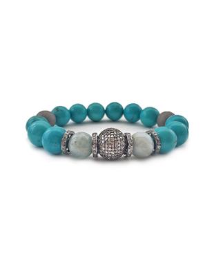 Turquoise, aquamarine and pave diamond bracelet