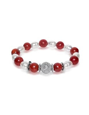 Coral, Diamond and Pearl Bracelet