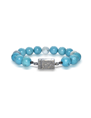 Turquoise, aquamarine and pave diamond bracelet