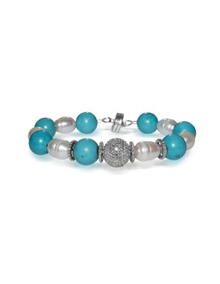 Turquoise, diamonds and pearl bracelet