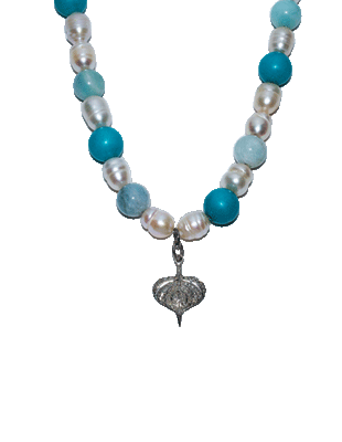 Pearl, diamond and turquoise necklace