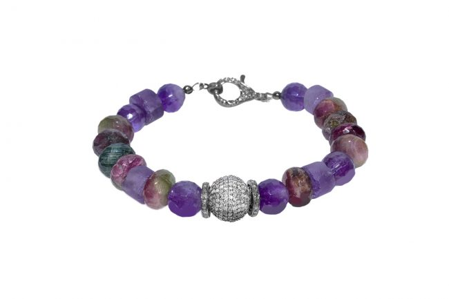 amethyst, rainbow tourmaline and diamond bracelet