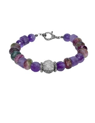 Rainbow Tourmaline, amethyst and diamond bracelet