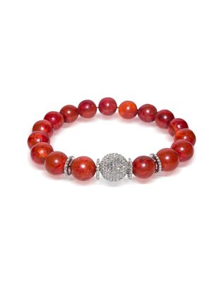Coral and diamond bracelet