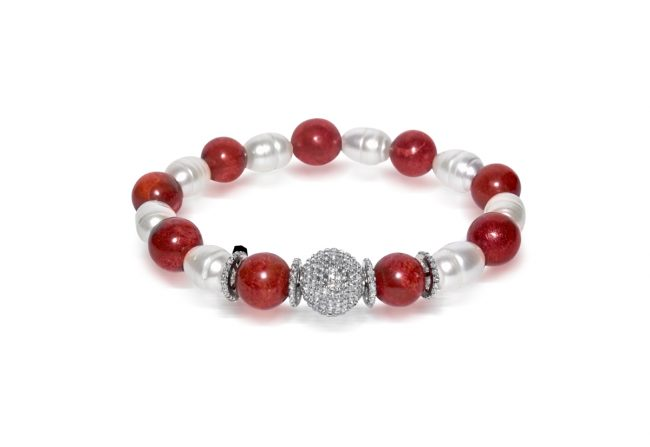 Coral and Pearl Bracelet with Diamond Gifted Unique