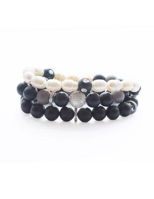 Diamond, onyx, pearl, agate triple strand wrap bracelet