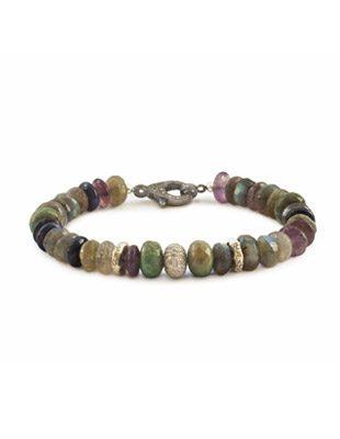 Diamond, labradorite and amethyst bracelet