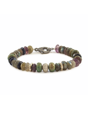 Diamond, labradorite and amethyst bracelet