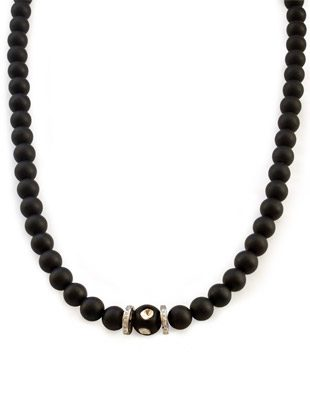 Diamond, and onyx necklace