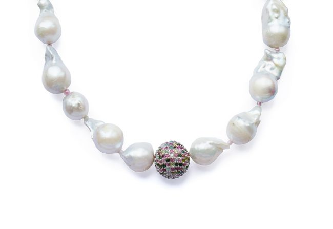 Baroque pearl and tourmaline necklace