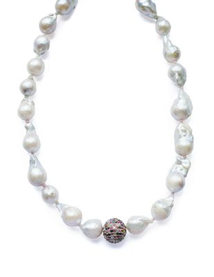 Baroque pearl and rainbow tourmaline necklace