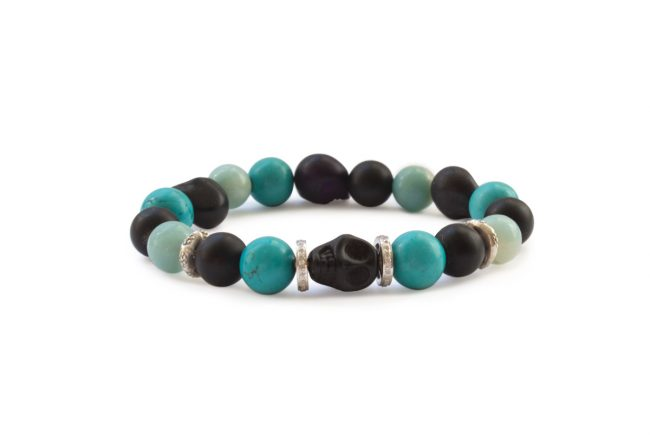 Turquoise, Onyx, sterling and skull bracelet