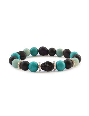 Turquoise, onyx,  diamond and skull bracelet