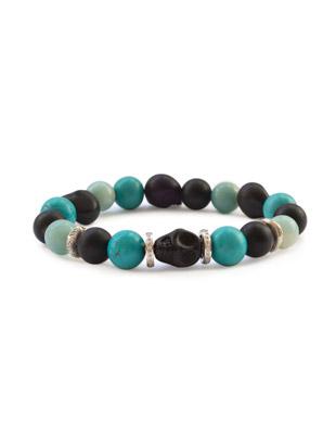 Turquoise, onyx,  diamond and skull bracelet
