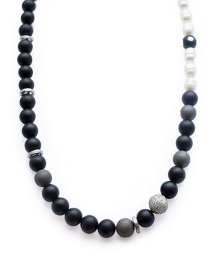 Diamond, onyx, pearl, agate necklace