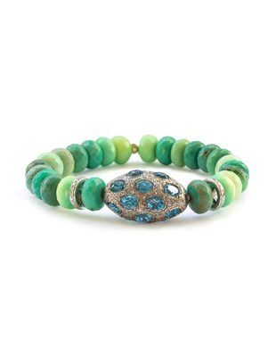 Chrysoprase, topaz and diamond bracelet