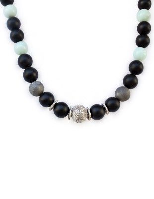 Diamond, onyx, aquamarine and agate necklace
