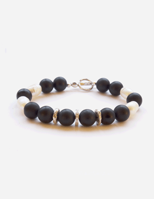 Diamond, onyx, and pearl bracelet