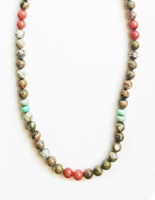 Jasper, coral and chrysoprase necklace