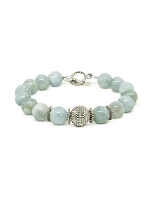 Aquamarine and Pave Diamond Bracelet