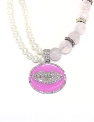 Pink Quartz and Lips Diamond Necklace