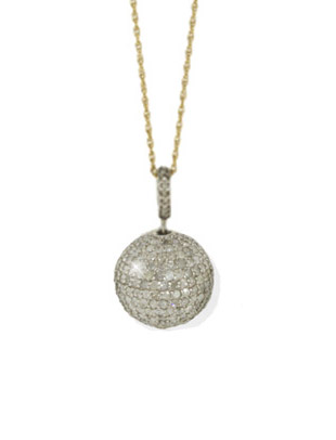 Diamond Pave Ball on Gold Chain with Diamond Loop