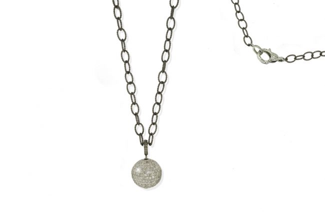 Pave-Diamond-Ball-on-Silver-Chain-with-Diamond-Loberster-Clasp