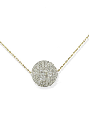 Pave Diamond Ball on Gold Chain