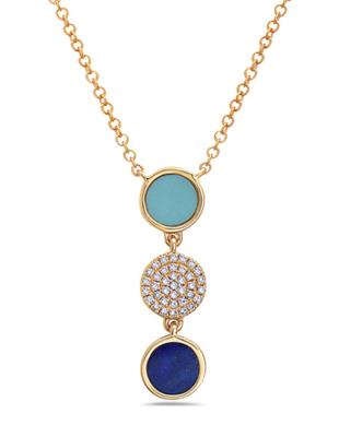Diamond, Lapis, Turquoise Pendant