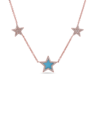 Diamond, Turquoise and Stars Necklace